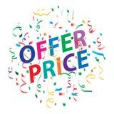 Bakgrund för erbjudandepris med färgrika konfettier royaltyfri illustrationer