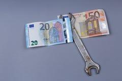 Bakgrund för euro och för brittiskt pund Arkivbilder