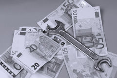 Bakgrund för euro och för brittiskt pund Fotografering för Bildbyråer