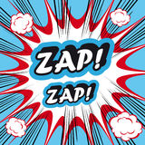 Bakgrund för explosionen för popkonst Zap Zap! retro och tappningbakgrund Arkivbild