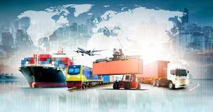 Bakgrund för export för import för logistik för global affär arkivbilder