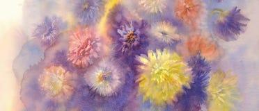 Bakgrund för färgastervattenfärg Fotografering för Bildbyråer
