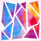 Bakgrund för färgrik vattenfärg för vektor geometrisk Royaltyfri Fotografi