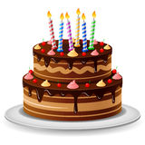 Bakgrund för födelsedagkaka Vektor Illustrationer
