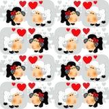 Bakgrund för förälskad valentin för Sheeps sömlös Royaltyfria Foton