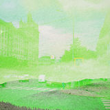 Bakgrund för fantasiekologiabstrakt begrepp Stads- landskap som är blandat med det naturligt på pappers- textur royaltyfri fotografi