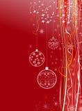 Bakgrund för ferie för nytt år röd med bollar Arkivbilder
