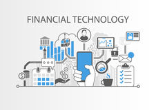 Bakgrund för finansiellt teknologi-/Fena-Tech begrepp med den hållande smartphonen för hand vektor illustrationer
