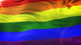 Bakgrund för flagga för LGBT-regnbåge vinkande med signalljuset Arkivbilder