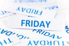 Bakgrund för fredag ordtextur Fotografering för Bildbyråer
