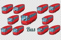 Bakgrund för friläge för uppsättning för bussautobussamling Royaltyfri Foto