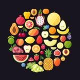 Bakgrund för fruktvektorcirkel Modern plan design sund bakgrundsmat Arkivbild