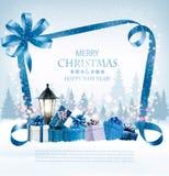 Bakgrund för glad jul med gåvor vektor illustrationer