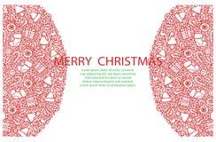 Bakgrund för glad jul med hand drog beståndsdelar Royaltyfri Bild