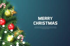 Bakgrund för glad jul med julbeståndsdelen royaltyfri bild