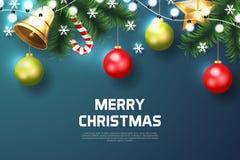 Bakgrund för glad jul med julbeståndsdelen royaltyfria foton