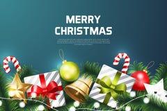 Bakgrund för glad jul med julbeståndsdelen royaltyfri fotografi