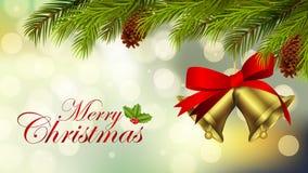 Bakgrund för glad jul med klockor och oskarpa ljus vektor illustrationer