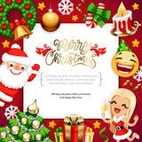 Bakgrund för glad jul med kopieringsutrymme på rött royaltyfri foto