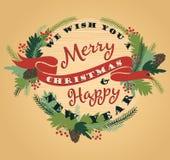 Bakgrund för glad jul med typografi Arkivbilder