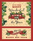 Bakgrund för glad jul med typografi Arkivfoto