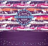 Bakgrund för glad jul med typografi Fotografering för Bildbyråer