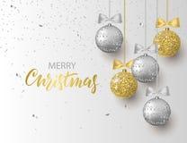 Bakgrund för glad jul och för lyckligt nytt år för feriehälsningkortet, inbjudan, partireklamblad, affisch, baner silver stock illustrationer