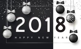 Bakgrund för glad jul och för lyckligt nytt år för feriehälsningkortet, inbjudan, partireklamblad, affisch, baner silver royaltyfri illustrationer