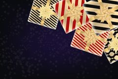 Bakgrund för glad jul och för lyckligt nytt år med gåvaaskar modern design Universell bakgrund för affischen, baner, reklamblad,  stock illustrationer