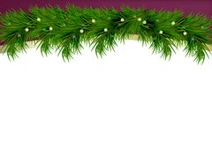 Bakgrund för glad jul och för lyckligt nytt år med granfilialer som isoleras på vit bakgrund modern design Universell bakgrund stock illustrationer