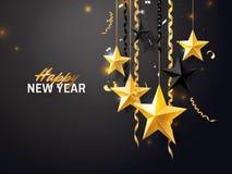 Bakgrund för glad jul och för nytt år 2018 för feriehälsningkortet, inbjudan, partireklamblad, affisch, baner Guld royaltyfri illustrationer