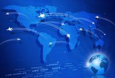 Bakgrund för Global Aviation begreppsblått stock illustrationer