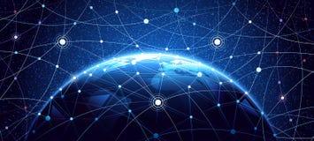 Bakgrund för globalt nätverk vektor illustrationer