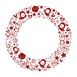 Bakgrund för gräns för ram för cirkel för fågelblommanatur dekorativ Fotografering för Bildbyråer