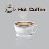 Bakgrund för grå färger för kaffe för illustration för vektor för kaffekopp varm Royaltyfri Illustrationer