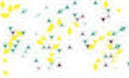 Bakgrund för grön och gul triangel för lilor geometrisk Arkivbilder