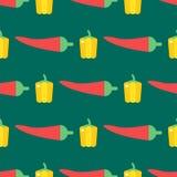 Bakgrund för grönsak för mat för illustration för tappning för modell för sund växt för peppar för röd chili sömlös stock illustrationer