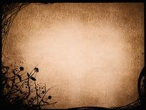 bakgrund för grunge för brunt för tappningblommagräns Arkivfoto