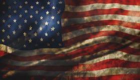 Bakgrund för Grungeamerikanska flaggantextur Arkivfoton
