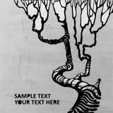 Bakgrund för Grungeträdvektor stock illustrationer