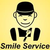 Bakgrund för guling för tecken för tjänste- lägenhet för leende Royaltyfria Foton