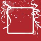 Bakgrund för hälsningkortet med lyx försilvrar gränsramen, och garnering med försilvrar bandet och blänker isolerat på röd bakgru stock illustrationer