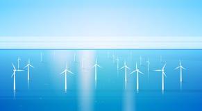 Bakgrund för hav för station för vatten för energi för vindturbin förnybar stock illustrationer
