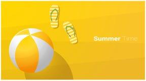 Bakgrund för Hello sommarsäsong med sandaler och strandboll på den tropiska stranden royaltyfri illustrationer