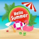 Bakgrund för Hello sommarsäsong och objektdesign med flamingo royaltyfri illustrationer