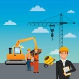 Bakgrund för himmel för kran för betong för blandare för byggnadsarbetarepäfyllningsmaskin vektor illustrationer