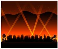 Bakgrund för Hollywood Kalifornien solnedgångstad stock illustrationer