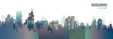 Bakgrund för illustration för stadsskyskrapavektor royaltyfri illustrationer
