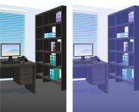 Bakgrund för inre plats för kontor detaljerad stock illustrationer