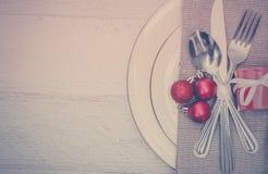 Bakgrund för inställning för julmåltabell Arkivbild